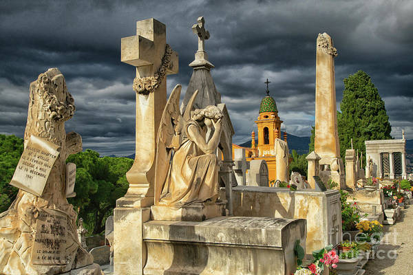 Wall Art - Photograph - Angels Cimitiere Du Chateau Castle Cemetery Nice France by Wayne Moran