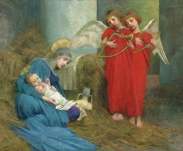 Wall Art - Painting - Angels Entertaining The Holy Child, 1893  by Marianne Stokes