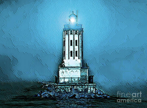 Digital Art - Angels Gate Lighthouse /textured by Joe Lach
