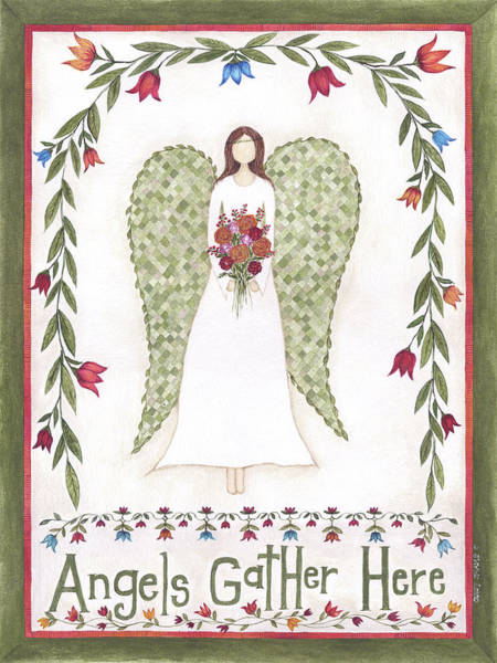 Wall Art - Painting - Angels Gather by Cindy Shamp