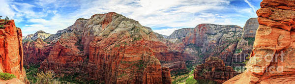 Wall Art - Photograph - Angels Landing Zion National Park Panorama by Edward Fielding