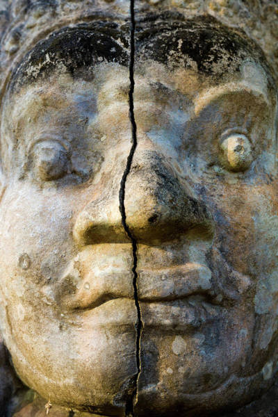 Cracked Photograph - Angkor Wat Face With Crack by Daniel Osterkamp