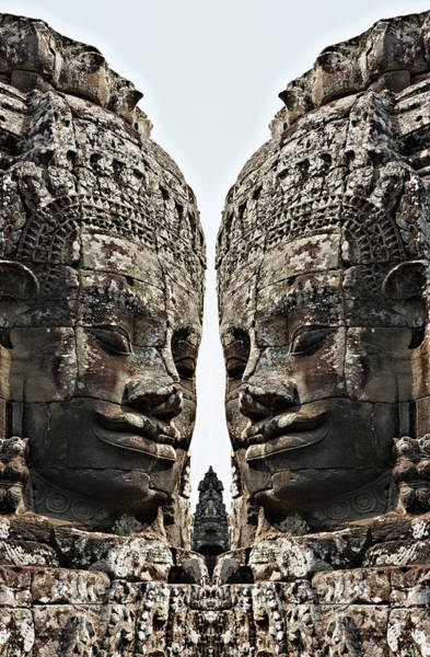 Reap Photograph - Angkor Wat, Giant Faces At Bayon Temple by Wilfried Krecichwost