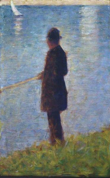 Angler Art Painting - Angler 1884 by Georges Seurat