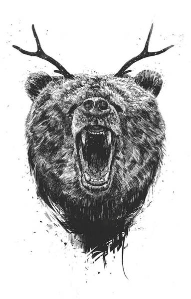 Wall Art - Drawing - Angry Bear With Antlers by Balazs Solti