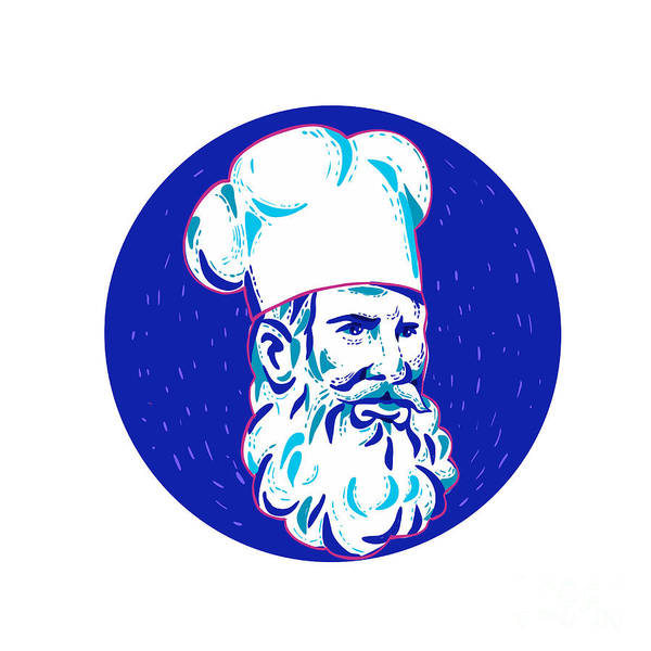 Wall Art - Digital Art - Angry Bearded Chef Circle Doodle  by Aloysius Patrimonio