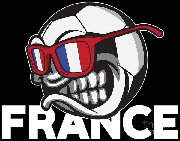 Vive La France Wall Art - Digital Art - Angry France Soccer Ball With Sunglasses French Flag Accessoires by Festivalshirt