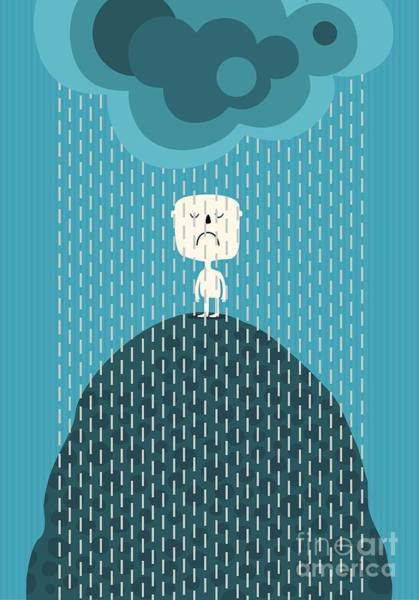 Wall Art - Digital Art - Angry Man In The Rain by Valovalo
