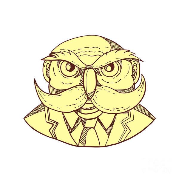 Wall Art - Digital Art - Angry Owl Man Mustache Doodle Color by Aloysius Patrimonio