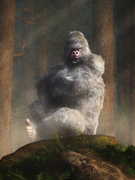 Digital Art - Angry White Ape by Daniel Eskridge