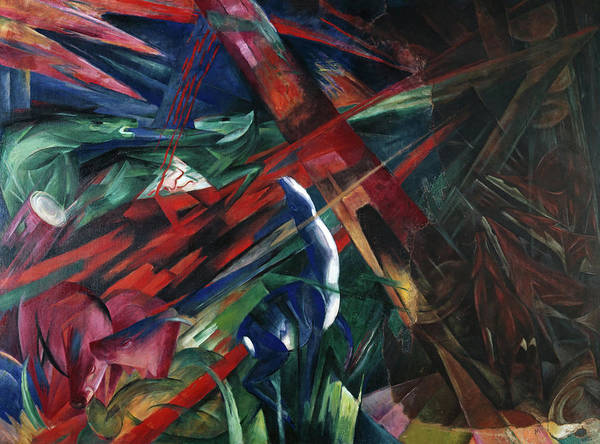 Wall Art - Painting - Animal Destinies, The Trees Showed Their Rings, The Animals Their Veins by Franz Marc