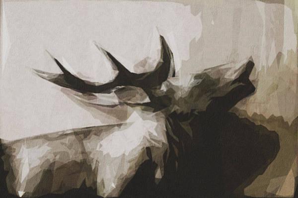 Wall Art - Digital Art - Animal Forest Hirsch Antler Wood by Draw Sly