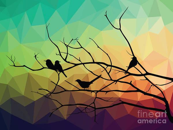 Wall Art - Digital Art - Animal Of Wildlife  Bird On Tree Branch by Ananaline