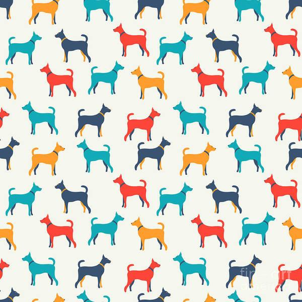 Wall Art - Digital Art - Animal Seamless Vector Pattern Of Dog by Kannaa