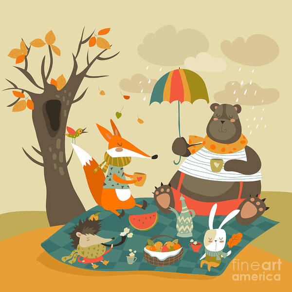 Wall Art - Digital Art - Animals At Picnic In Autumnal Forest by Maria Starus