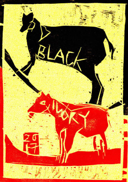 Digital Art - Animals Black Ivory Woodcut Poster 12 by Artist Dot