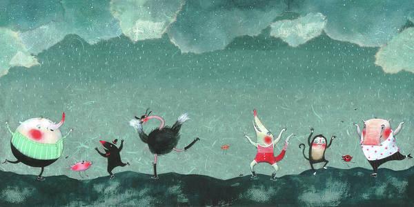 Pig Digital Art - Animals Dancing In The Rain by Illustration