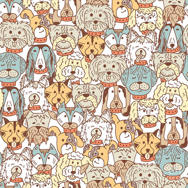 Wall Art - Digital Art - Animals. Dogs Vector Seamless Pattern by Allnikart