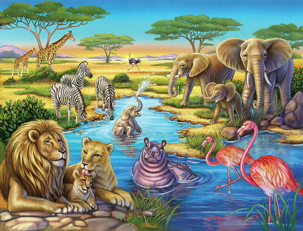 Mixed Media - Animals In Africa by Anne Wertheim