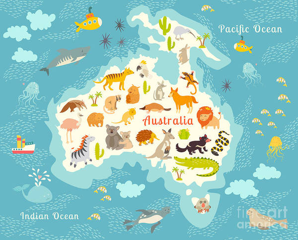 Wall Art - Digital Art - Animals World Map, Australia by Rimma Z
