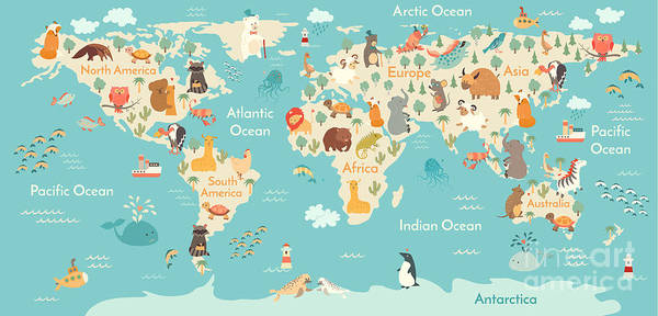 Wall Art - Digital Art - Animals World Map For Children, Kids by Rimma Z