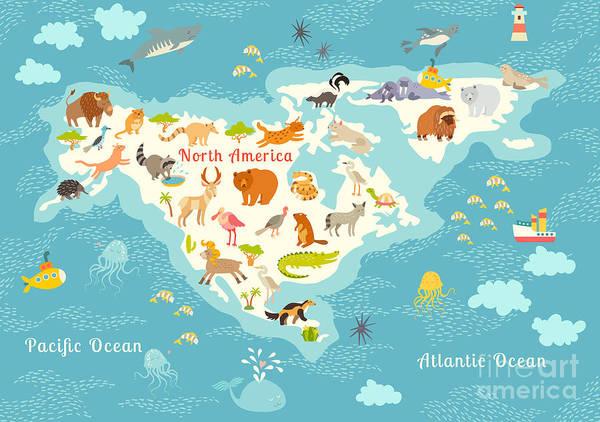 Wall Art - Digital Art - Animals World Map, North by Rimma Z