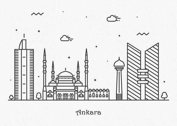 Turkiye Wall Art - Drawing - Ankara Cityscape Travel Poster by Inspirowl Design