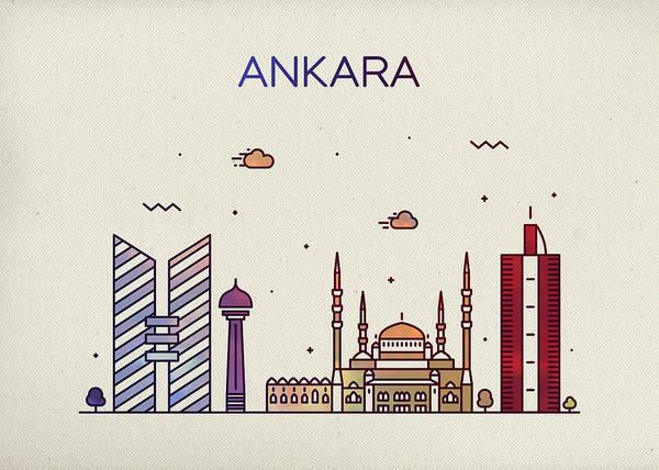 Turkish Mixed Media - Ankara Turkey City Skyline Fun Whimsical Wide Bright Version Series by Design Turnpike