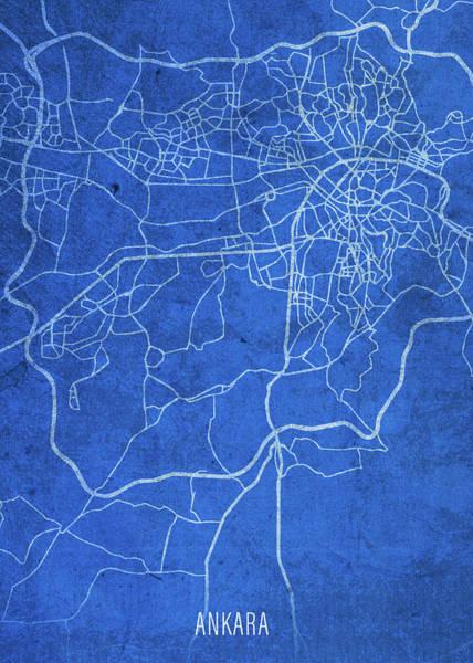 Turkish Mixed Media - Ankara Turkey City Street Map Blueprints by Design Turnpike