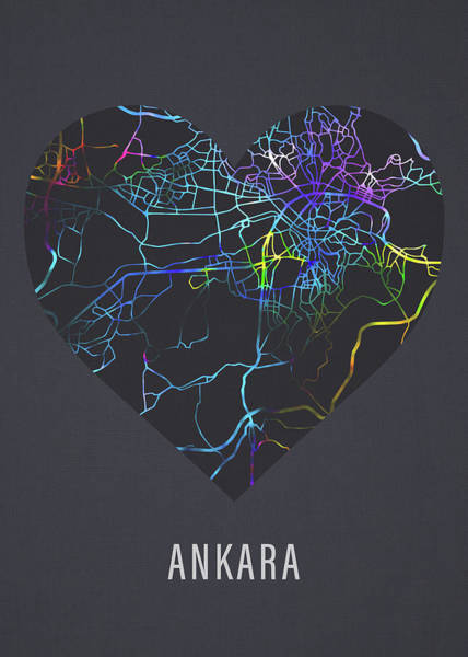 Wall Art - Mixed Media - Ankara Turkey City Street Map Heart Love Dark Mode by Design Turnpike
