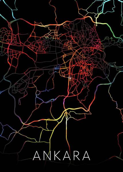 Turkish Mixed Media - Ankara Turkey Watercolor City Street Map Dark Mode by Design Turnpike
