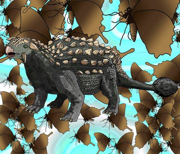 Drawing - Ankylosaurus And Butterflies by Joan Stratton