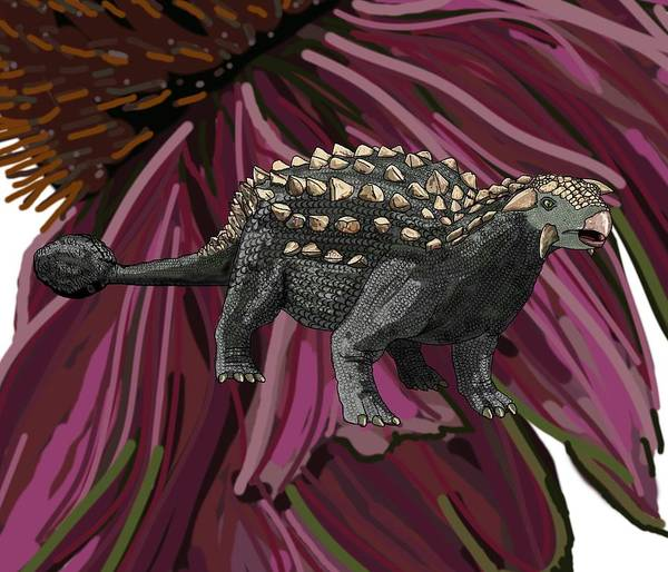 Drawing - Ankylosaurus In Echinacea Flower by Joan Stratton