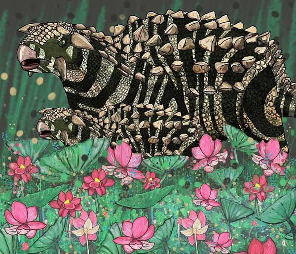 Mixed Media -  Ankylosaurus In Lilies by Joan Stratton