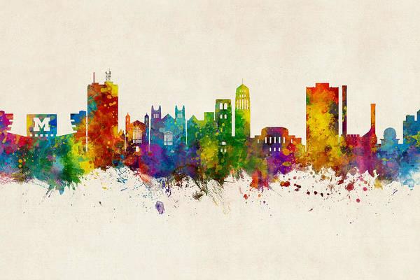 Wall Art - Digital Art - Ann Arbor Michigan Skyline by Michael Tompsett