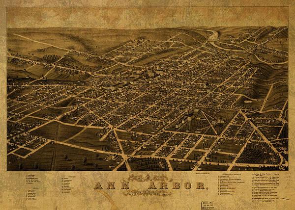 Arbor Wall Art - Mixed Media - Ann Arbor Michigan Vintage City Street Map 1880 by Design Turnpike