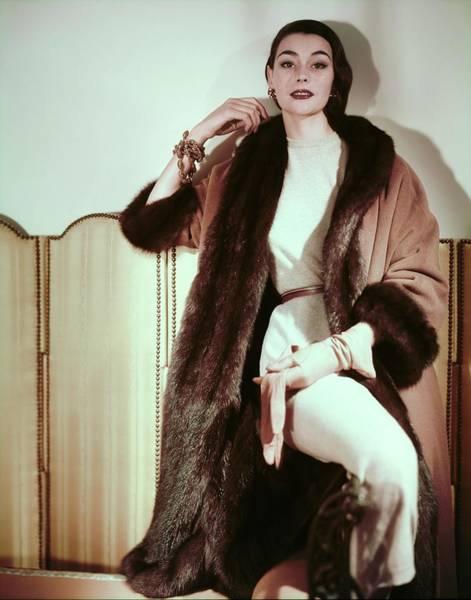 Screen Photograph - Ann Gunning In An Originala Coat by Horst P. Horst