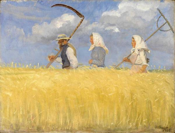 Wall Art - Painting - Anna Ancher - Harvesters by Celestial Images