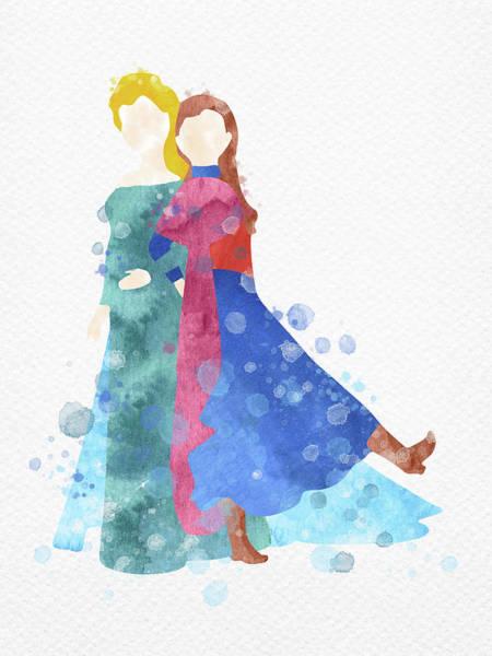 Anna And Elsa Watercolor Art Print