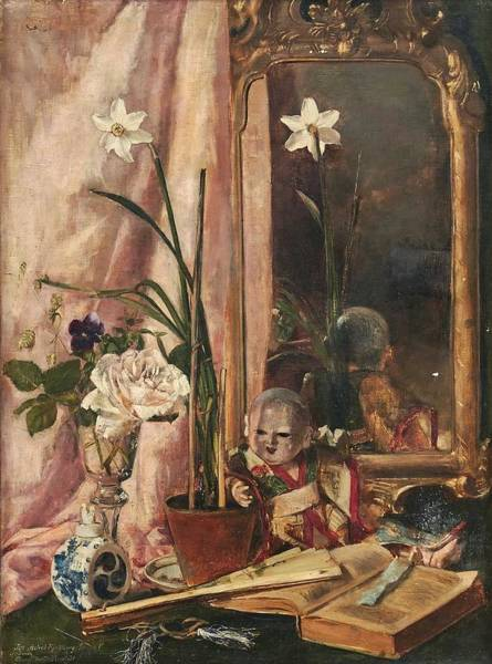 Wall Art - Painting - Anna Munthe-norstedt  1854-1936 . Still Life In Front Of A Mirror by Celestial Images