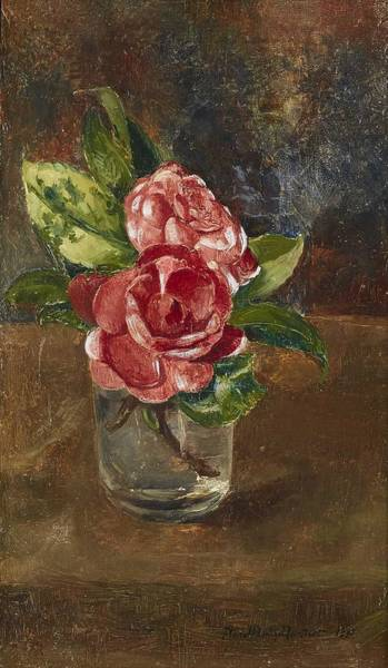 Wall Art - Painting - Anna Munthe-norstedt 1854-1936 Roses In A Glass by Celestial Images