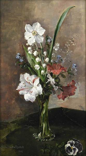 Wall Art - Painting - Anna Munthe-norstedt 1854-1936 Spring Bouquet In Glass Vase by Celestial Images
