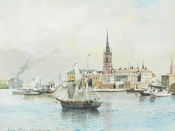 Wall Art - Painting - Anna Palm  1859-1924   Riddarholmen, Stockholm by Celestial Images