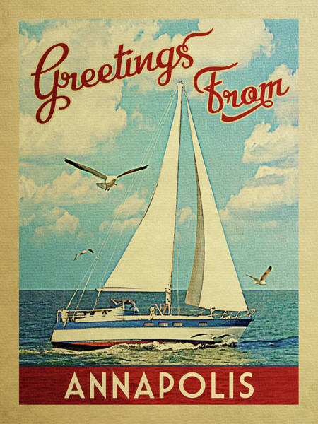 Seagull Digital Art - Annapolis Sailboat Vintage Travel by Flo Karp