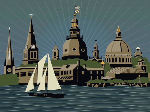 Cupola Digital Art - Annapolis Steeples And Cupolas Serenity by Joe Barsin