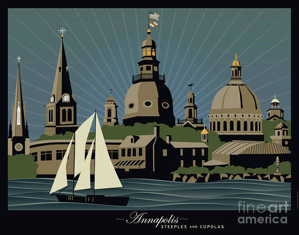 Cupola Digital Art - Annapolis Steeples And Cupolas Serenity With Border by Joe Barsin