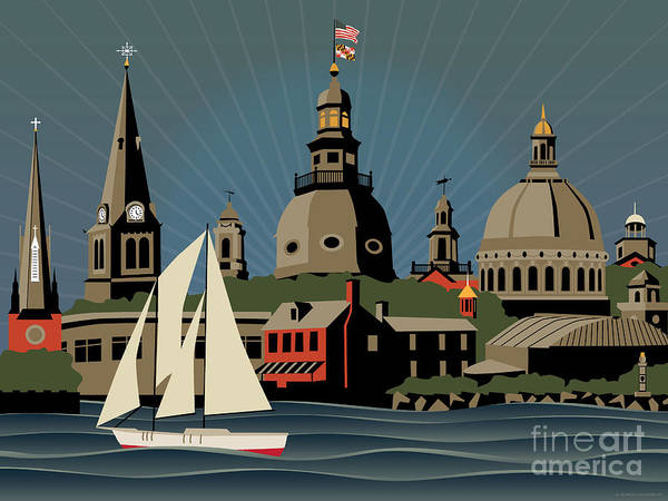 Cupola Digital Art - Annapolis Steeples And Cupolas Skyline by Joe Barsin