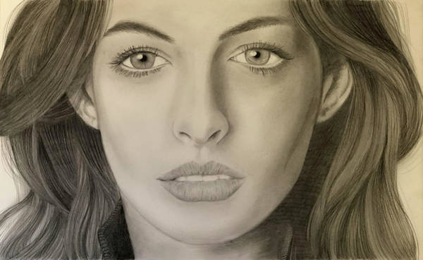 Miserable Drawing - Anne Hathaway Portrait by Jonathan CHIMP Guzman