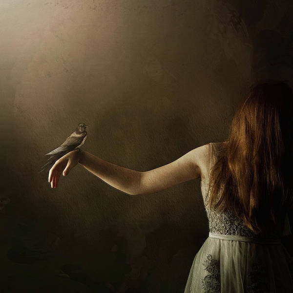 Photograph - Anni With Bird In Divine Light by Caroline Jensen