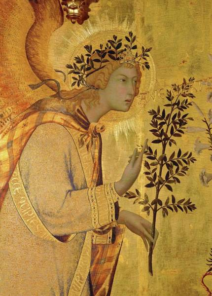 Wall Art - Painting - Annunciation. Detail The Angel Of The Annunciation. by Simone Martini -c 1284-1344-